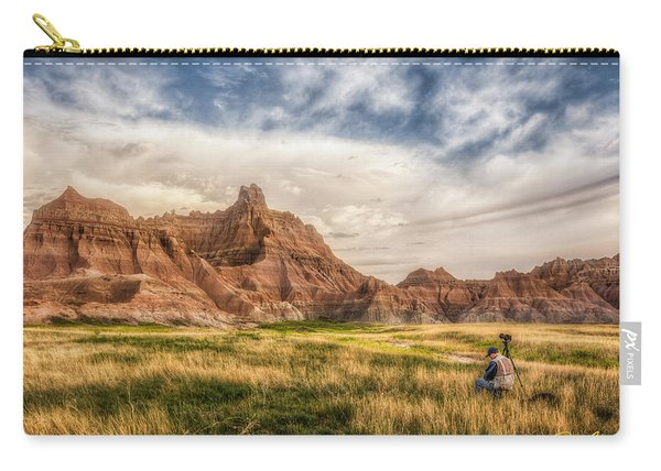 Photographer Waiting For The Badlands Light Carry-all Pouch