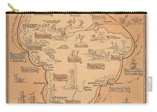 Pictorial Map Of South America - South American Cruise - Antique Illustrated Map, 1927 Carry-all Pouch
