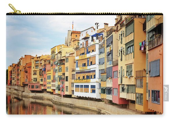 Picturesque Buildings Along The River In Girona, Catalonia Carry-all Pouch