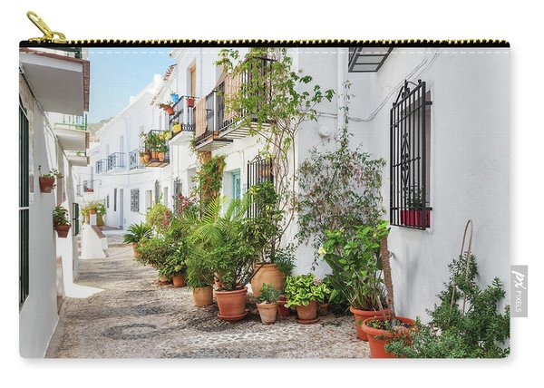 Picturesque Narrow Street Decorated With Plants Carry-all Pouch