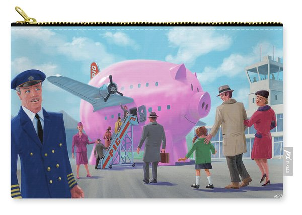 Carry-all Pouch featuring the digital art Pig Airline Airport by Martin Davey