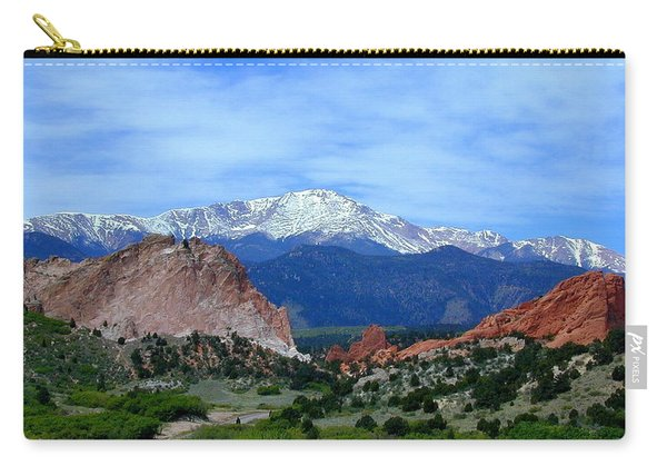 Carry-all Pouch featuring the photograph Pikes Peak And Garden Of The Gods 1 by Joseph R Luciano
