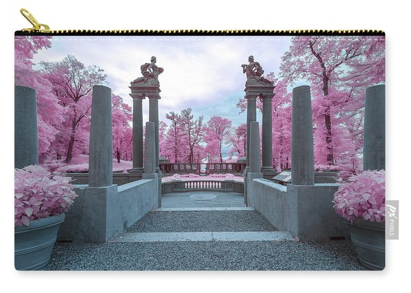 Carry-all Pouch featuring the photograph Pillars With Pink by Brian Hale