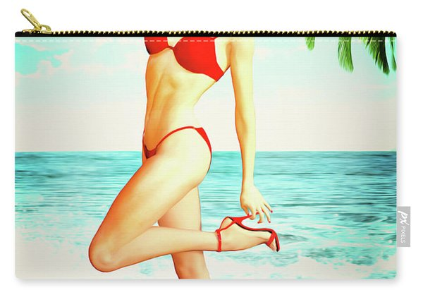 Pin-up Beach Blonde In Red Bikini Carry-all Pouch