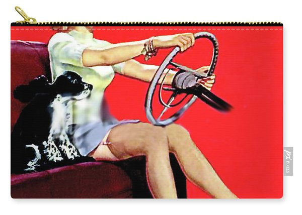 Pin Up Girl In Mini Dress Driving A Car With Dog On Front Seat Carry-all Pouch