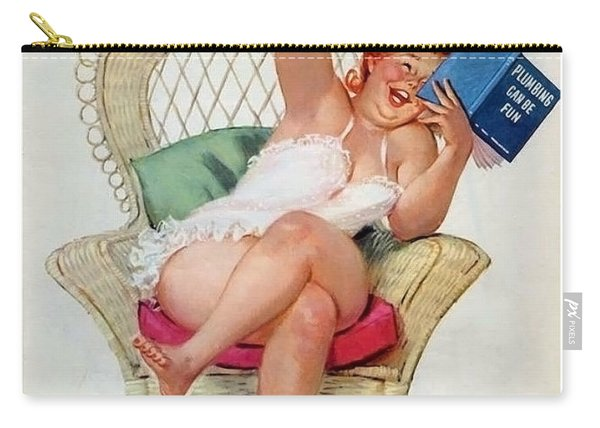 Pin Up Woman Reading A Funny Plumbing Book Carry-all Pouch