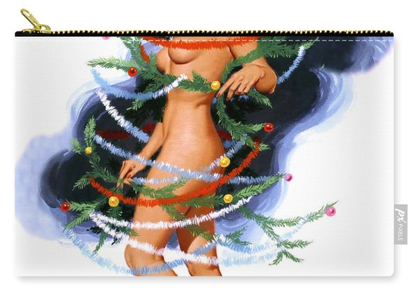 Pin Up Woman Wrapped With Christmas Decorations Carry-all Pouch
