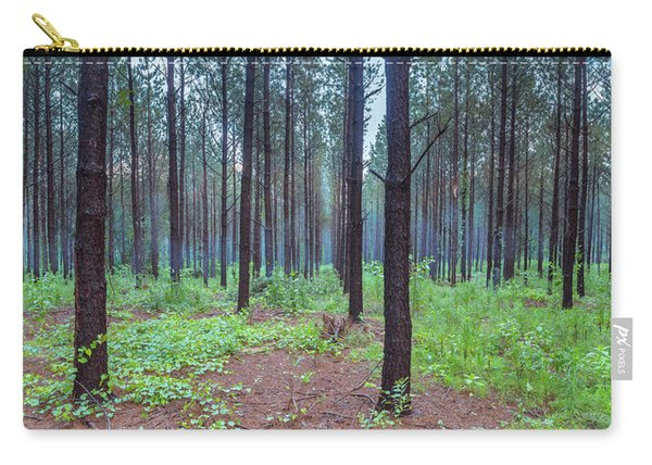 Carry-all Pouch featuring the photograph Pine Grove And Fog In Charlotte Nc Panorama by Ranjay Mitra