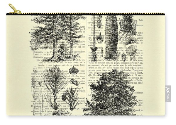 Pine Trees Study Black And White  Carry-all Pouch