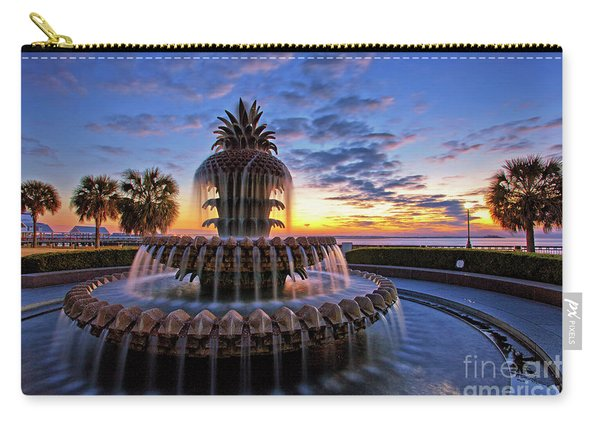 Carry-all Pouch featuring the photograph The Pineapple Fountain At Sunrise In Charleston, South Carolina, Usa by Sam Antonio Photography