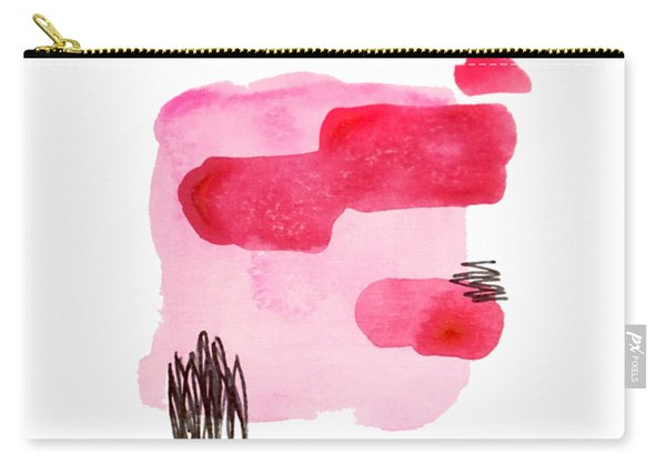 Pink And Black Abstract Carry-all Pouch