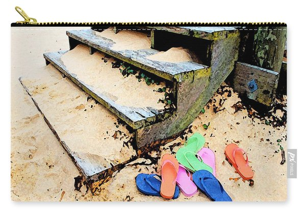 Pink And Blue Flip Flops By The Steps Carry-all Pouch