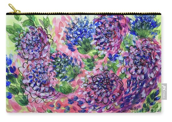 Pink And Blue Flower Flurry Carry-all Pouch