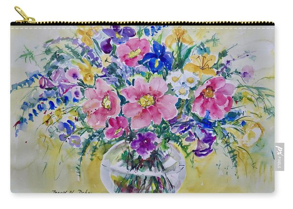 Pink And Blue Carry-all Pouch