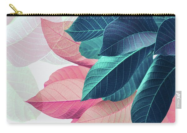 Pink And Blue Leaves Carry-all Pouch