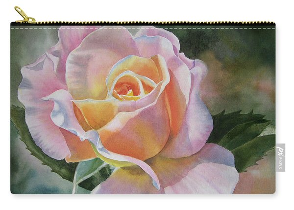 Pink And Peach Rose Bud Carry-all Pouch