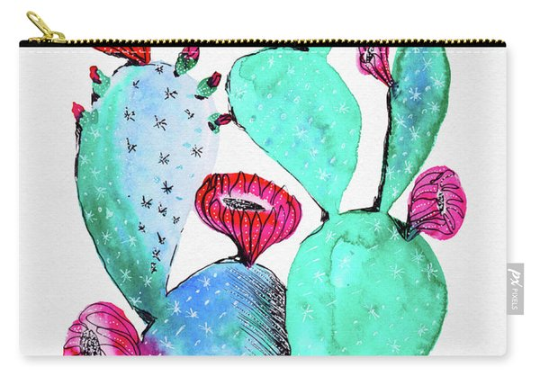 Pink And Teal Cactus Carry-all Pouch