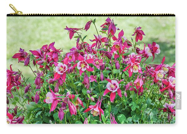 Pink And White Columbine Carry-all Pouch