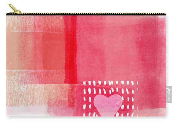 Pink And White Minimal Heart- Art By Linda Woods Carry-all Pouch