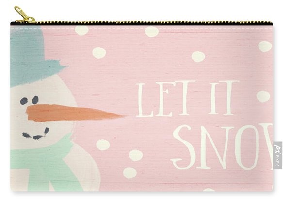 Pink And White Snowman- Art By Linda Woods Carry-all Pouch