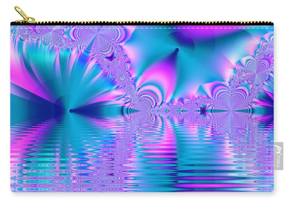 Pink, Blue And Turquoise Fractal Lake Carry-all Pouch
