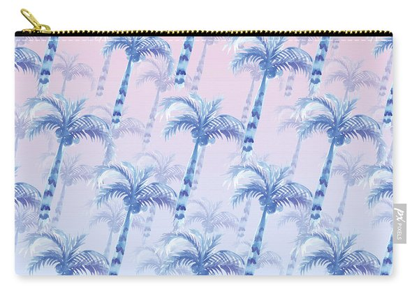 Pink Blue Palm Tree Grove Carry-all Pouch