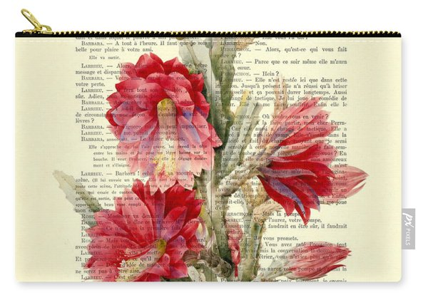 Pink Cactus Flower Vintage Book Page Collage Carry-all Pouch