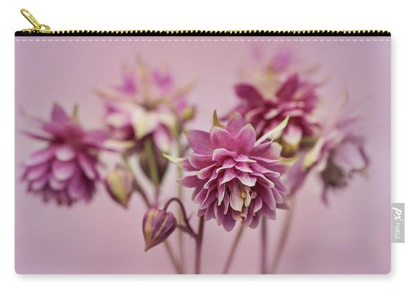 Carry-all Pouch featuring the photograph Pink Columbines by Jaroslaw Blaminsky