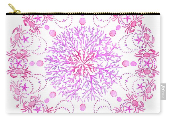 Pink Crab Mandala Carry-all Pouch