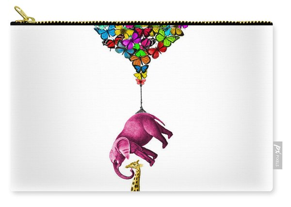 Pink Elephant And Giraffe Hanging From A Butterfly Balloon Carry-all Pouch