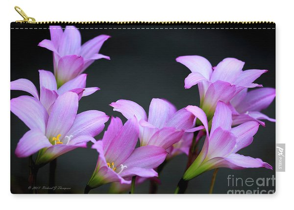 Carry-all Pouch featuring the photograph Pink Fairy Lilies by Richard J Thompson