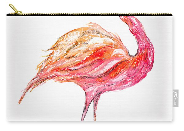 Pink Flamingo Bird Carry-all Pouch