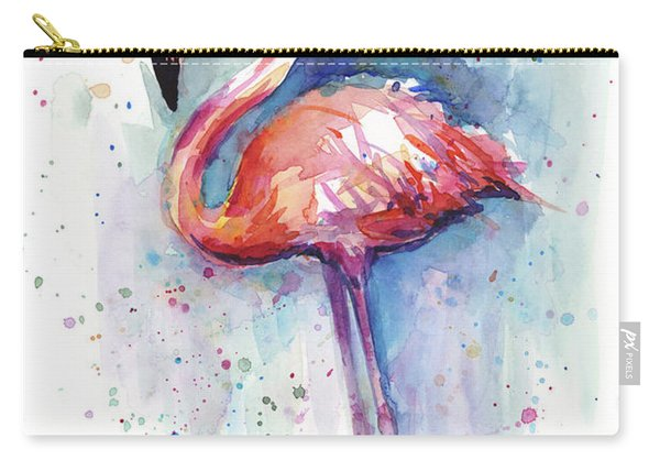 Pink Flamingo Watercolor Carry-all Pouch