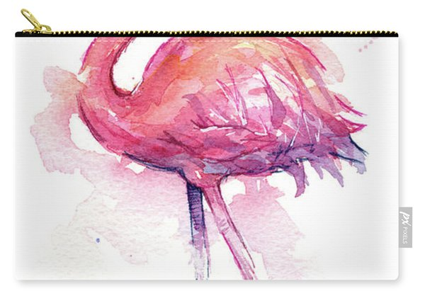 Pink Flamingo Watercolor Tropical Bird Carry-all Pouch
