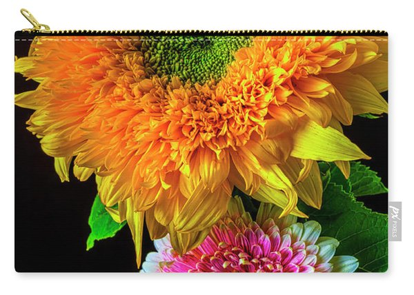 Pink Gerbera Daisy And Sunflower Carry-all Pouch
