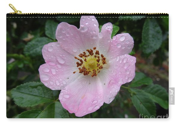 Pink Heart Petal Rose With Raindrops Carry-all Pouch