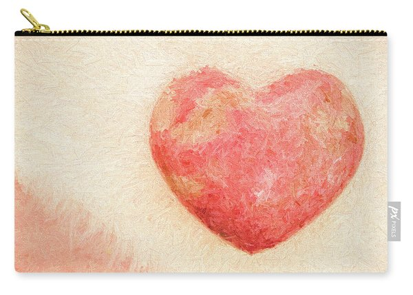 Pink Heart Soft And Painterly Carry-all Pouch
