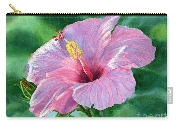 Pink Hibiscus Flower With Leafy Background Carry-all Pouch