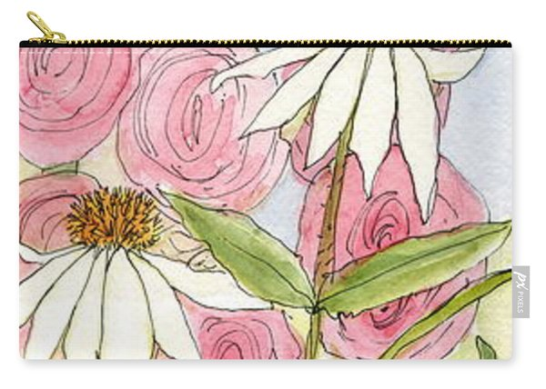 Pink Hollyhock And White Coneflowers Carry-all Pouch