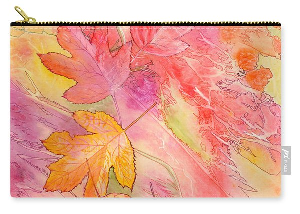 Carry-all Pouch featuring the painting Pink Leaves by Nancy Cupp