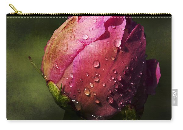Carry-all Pouch featuring the photograph Pink Peony Bud With Dew Drops by Patti Deters