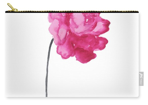 Pink Peony, Nursery Decor Wall Art Print, Abstract Illustration Carry-all Pouch