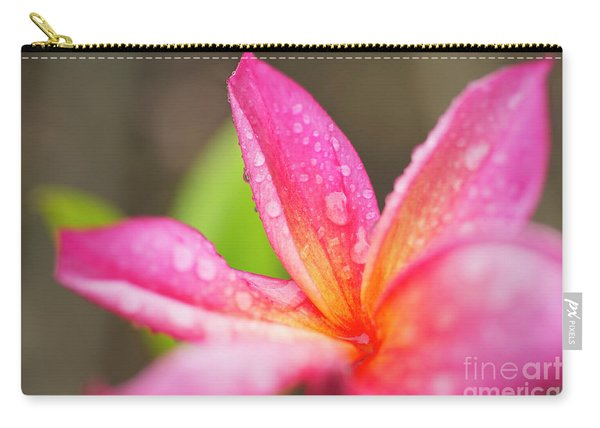 Pink Plumeria Detail Carry-all Pouch