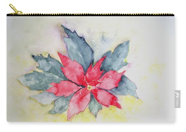 Pink Poinsetta On Blue Foliage Carry-all Pouch