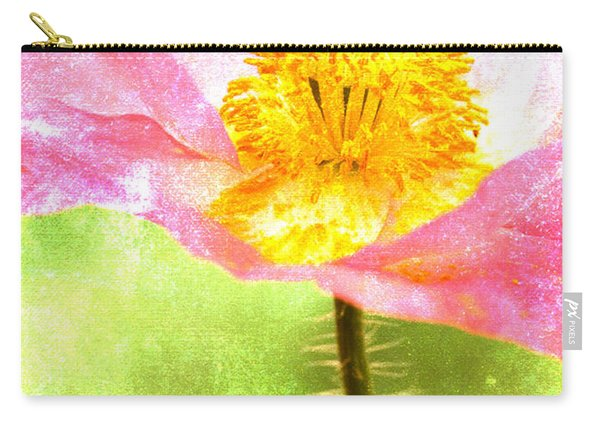 Pink Poppy On Green Carry-all Pouch