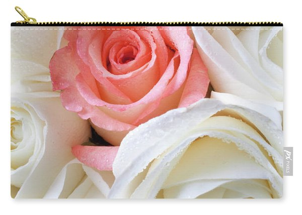 Pink Rose Among White Roses Carry-all Pouch