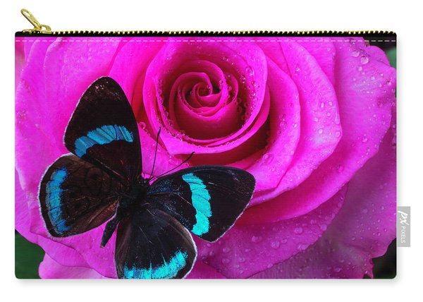 Pink Rose And Black Blue Butterfly Carry-all Pouch