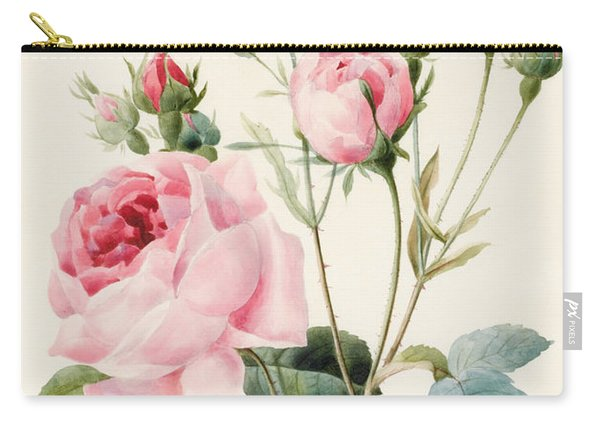 Pink Rose And Buds Carry-all Pouch