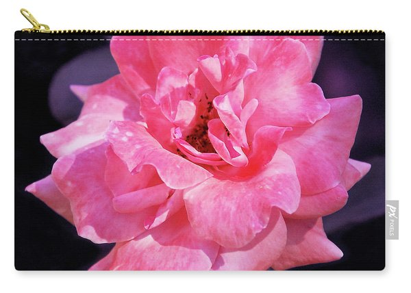 Pink Rose With Violet Carry-all Pouch