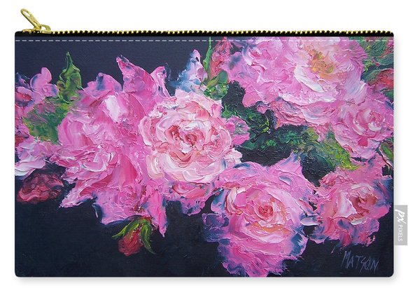 Pink Roses Oil Painting Carry-all Pouch
